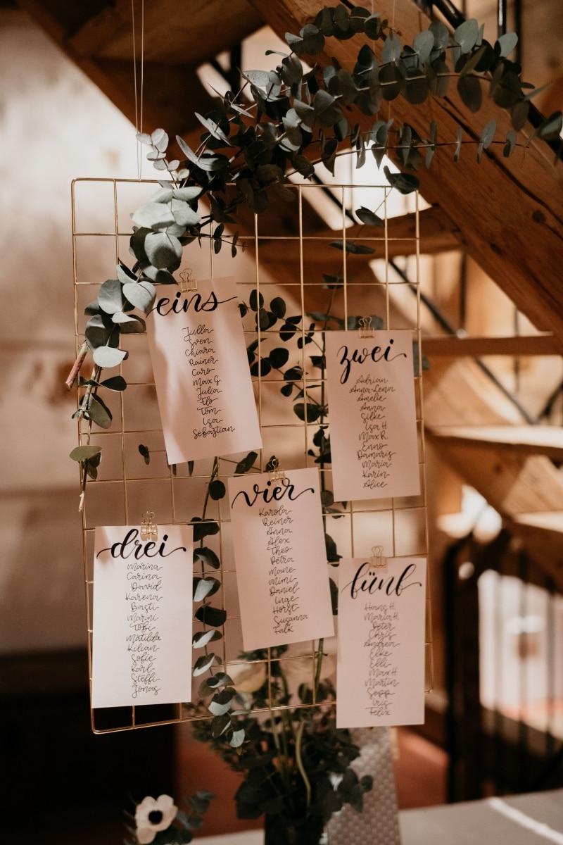 Sitzplan, Tischnummern und Namenskärtchen für die Hochzeit von Mimi & Daniel; Fotocredit: Martin Holzner