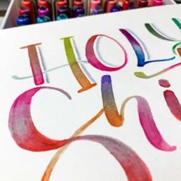 Lettering Brushlettering Holy shit mit Blending Technik und Karin Marker