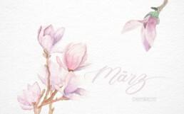 Wallpaper PC März 2019 Brushlettering Illustration Aquarell Magnolie