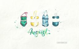 Wallpaper PC August 2019 Brushlettering Illustration Aquarell